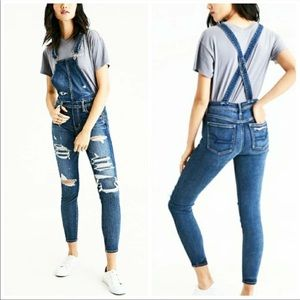 American Eagle Distressed Jegging Overalls